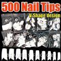 500pcs White Nail Tips (V-Shape) - 500pcs