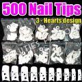 500pcs White Nail Tips (3 Hearts Design) - 500pcs
