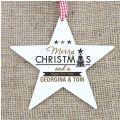 Personalised Merry Christmas And A Happy New Year Wooden Star Dec...